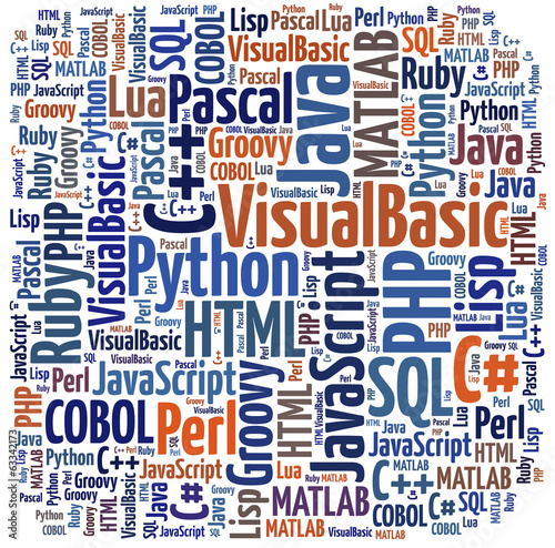 Leinwandbild Motiv Word cloud programming languages or IT related