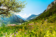 canvas print picture - Beautiful sunny scenery near Alps