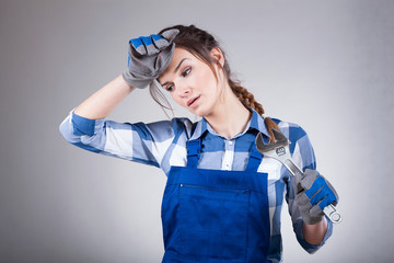Woman tired after manual work