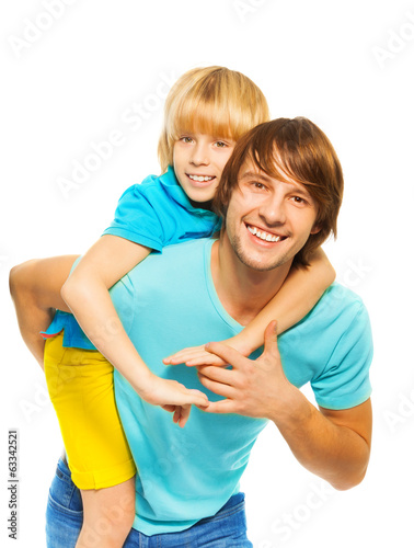 Father piggyback his son