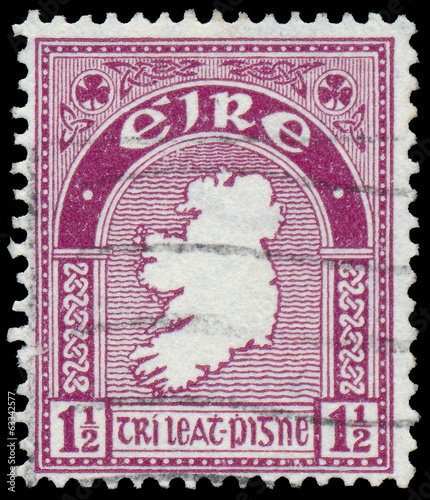 Stamp printed in Ireland shows a map of the country
