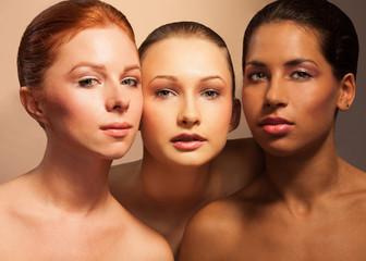 Three women beauty portrait