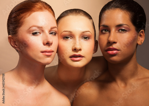 Three women beauty portrait