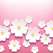 Beautiful stylish floral background with 3d flowers sakura