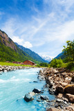 Beautiful Swiss landscape with river stream
