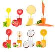 Collage of fresh fruit juices on white background