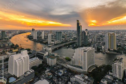 Bangkok city bird's-eye view in beautiful sky