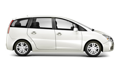 Three Dimensional Image White Car