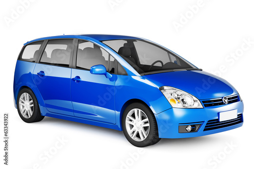 canvas print picture Blue car