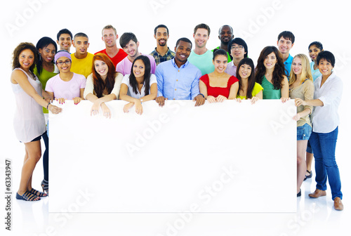 Large Group of People Holding Board