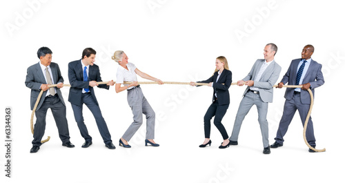 Group of Business People Playing Tug of War