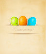 Easter retro background with eggs. Vector.