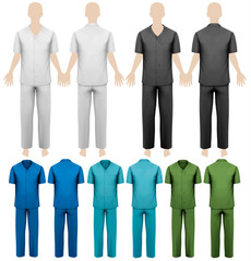 Set of work overalls. Design template. Vector illustration.