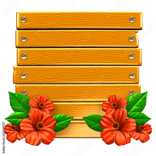 Wooden Board With Red Hibiscuses