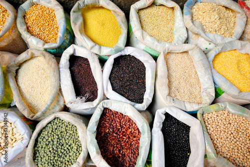 Sacks Of Healthy Legumes And Grains