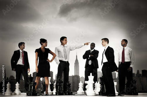 Business People Chess Concepts in the City