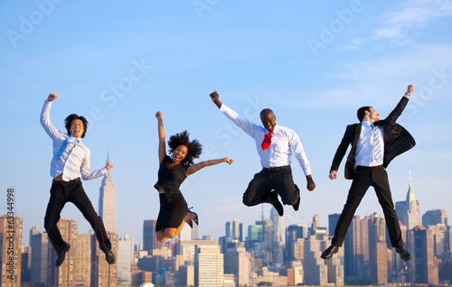Business people Celebrating Jumping