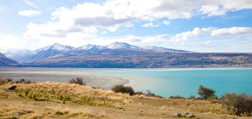 Beautiful scenery Tasman turquoise lake in autumn Mt Cook , NZ