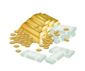 A Pile of Money, Coin and Gold