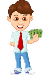 Businessman holding dollar