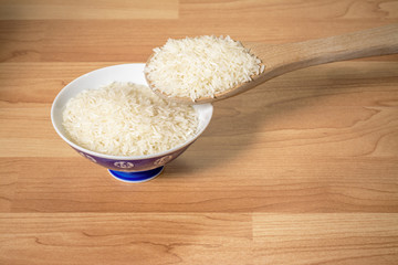Uncooked rice in a serving bowl