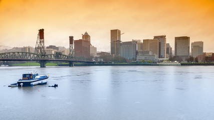 Portland skyline on a rainy day