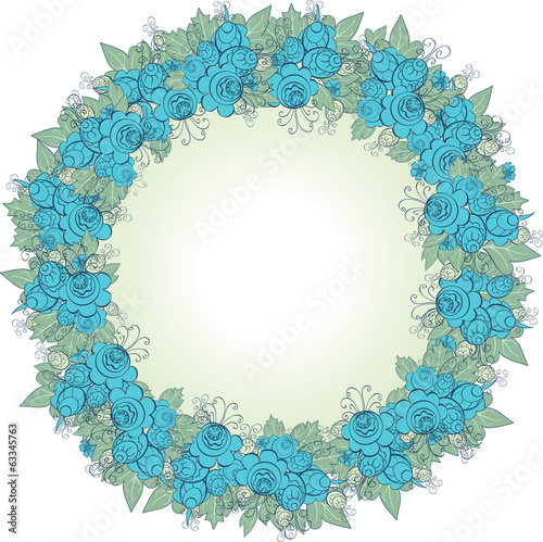 vector decorative wreath of blue flowers