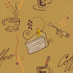 brown tone coffee and cake pattern wallpaper
