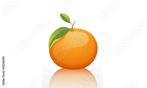 Shiny orange fruit white background