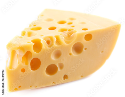 Piece of cheese, isolated on white