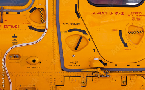 Rescue helicopter confusing hatch handles abstract