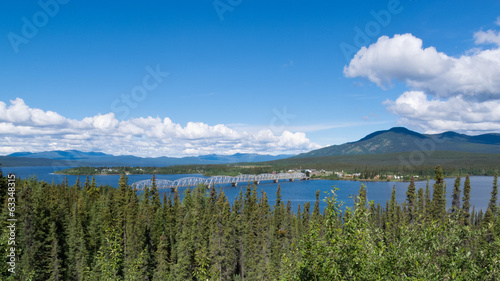 Alaska Highway steel bridge Teslin Yukon Canada