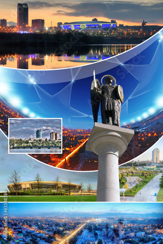 Collage of photos of the city Donetsk, Ukraine
