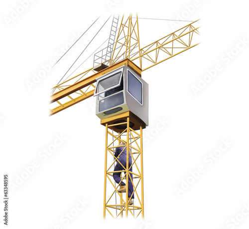 Illustration of crane with a man climbing to the cabin