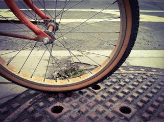 Rueda de bicicleta antigua