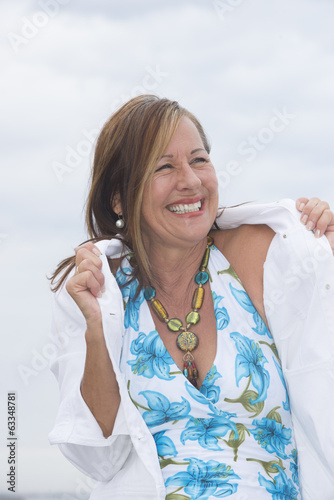 Joyful happy mature woman outdoor