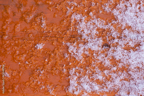 Wood surface closeup thawing fresh snow background