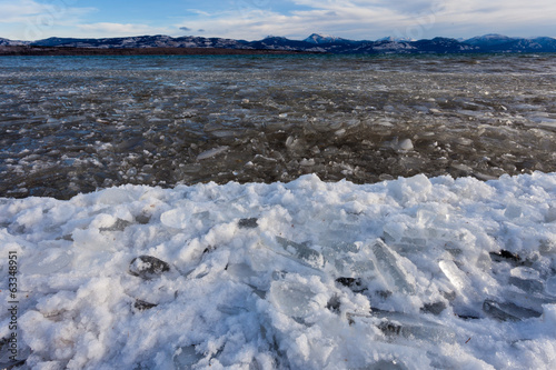 Shore ice Lage Laberge freeze-up Yukon Canada