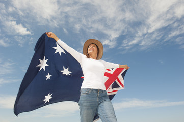 Woman with Australian Flag outdoor