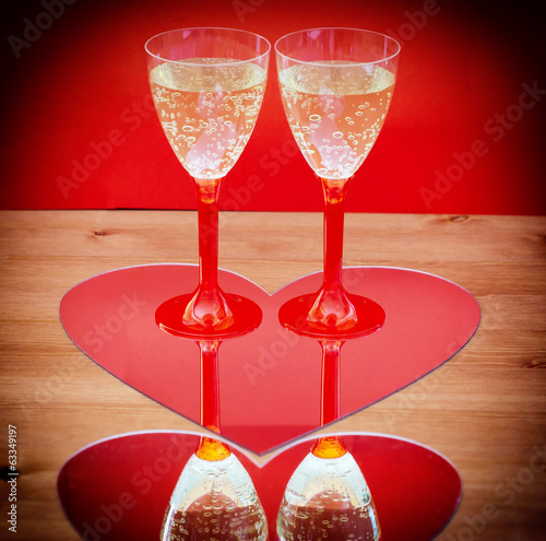 Valentine champagne glasses in heart