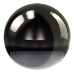 Black sphere isolated on white background