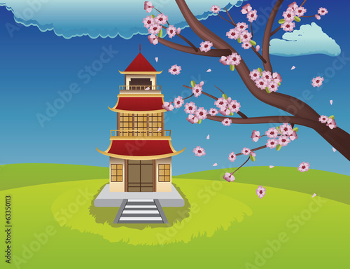 Oriental House and Blooming Sakura