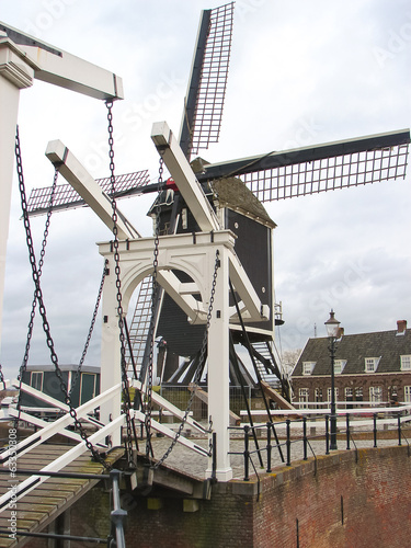Bascule bridge and windmill in Heusden. Netherlands
