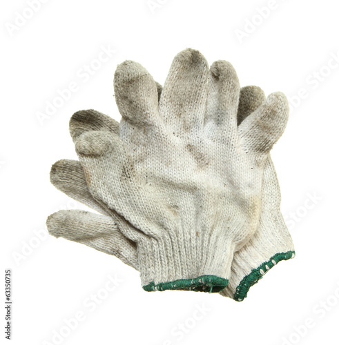 Dirty fabric glove isolated on white background