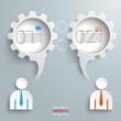 2 Speech Bubble Gears Businessmen