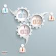 3 Speech Bubble Gears Businessmen