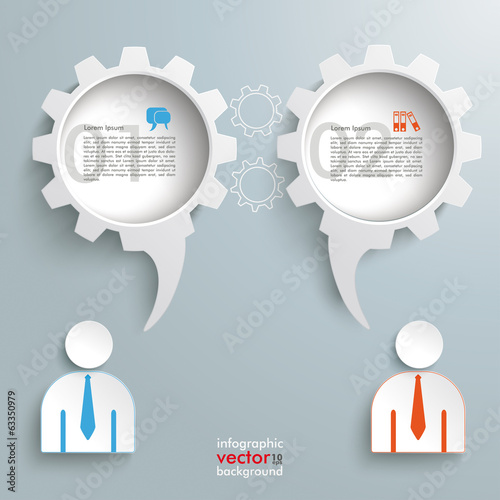2 Speech Bubble Gears Businessmen