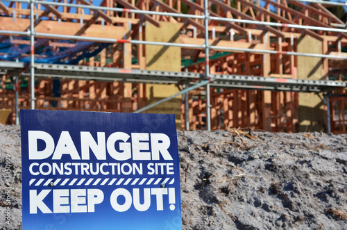 Danger building site sign