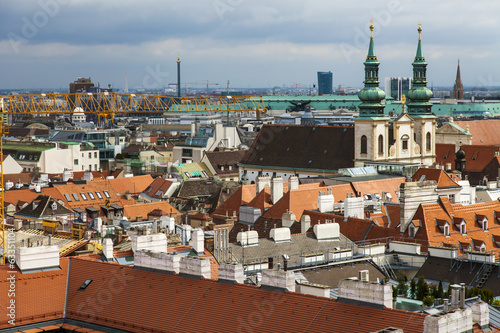 canvas print picture Vienna, Austria. View of the city from the Cathedral of St Stefa