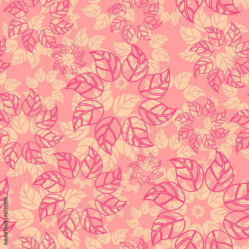 Vector endless background with leaves